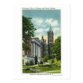 Syracuse U Campus View Showing Crouse College Postcard