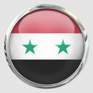Syria Flag Glass Ball Classic Round Sticker