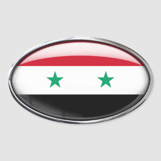 Syria Flag Glass Oval Oval Sticker