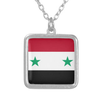 Syria flag silver plated necklace