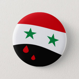 Syria Flag waving with blood red tears 6 Cm Round Badge