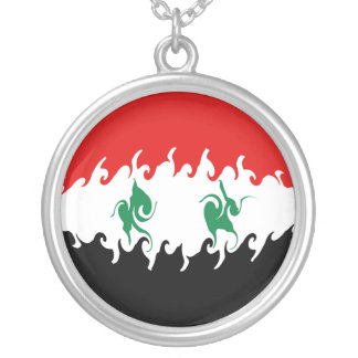 Syria Gnarly Flag Round Pendant Necklace
