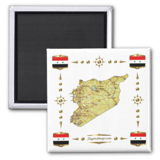 Syria Map + Flags Magnet