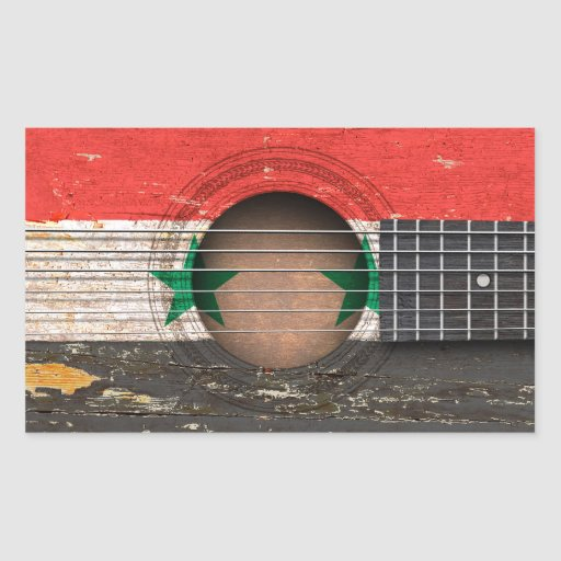 Syrian Flag on Old Acoustic Guitar Rectangle Sticker