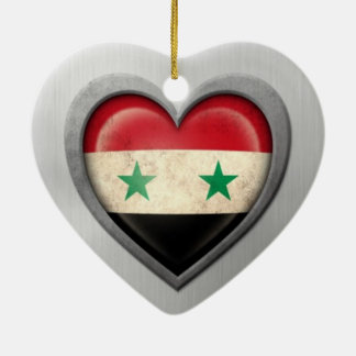 Syrian Heart Flag Stainless Steel Effect Ornament