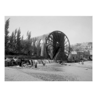 Syrian Water Wheel, early 1900s Poster