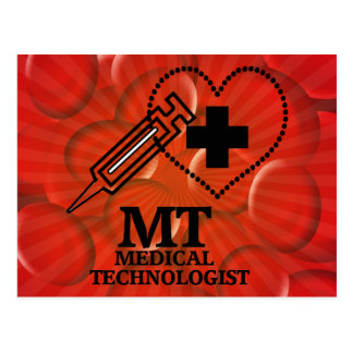 SYRINGE HEART LOGO FOR MT MEDICAL TECHNOLOGIST POSTCARD