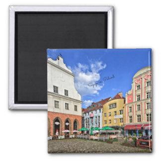 Szczecin, Poland cityscape Square Magnet