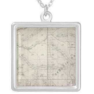 T1819S R2930E Tulare County Section Map Silver Plated Necklace
