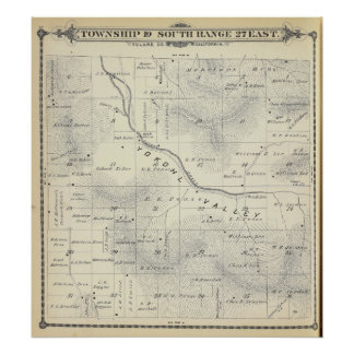 T19S R27E Tulare County Section Map Poster