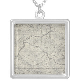 T2021S R3031E Tulare County Section Map Silver Plated Necklace