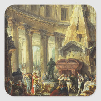T28516 Alexander the Great visiting the Tomb of Ac Square Sticker