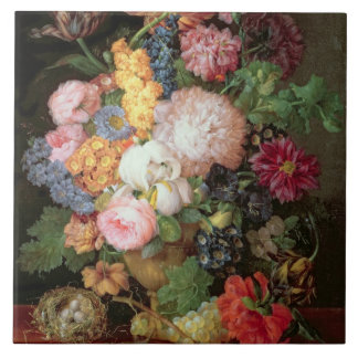 T30763 A Still Life of Flowers and Fruit (panel) Large Square Tile