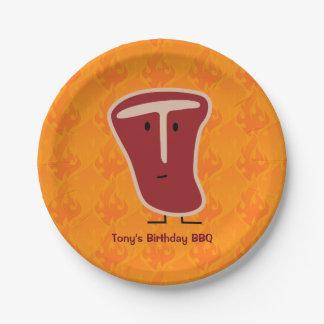 T-bone steak meat protein grilled beef fat bone paper plate