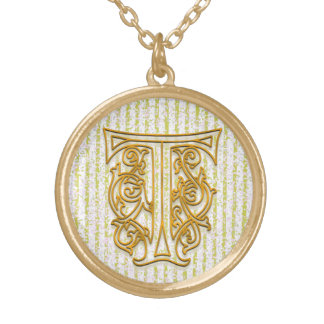 "T Initial Monogram ""Gold Pin Stripe"" Necklace"