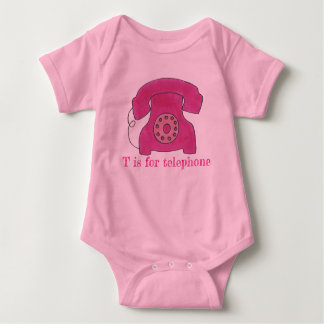 T is for Telephone Pink Rotary Dial Phone Retro Baby Bodysuit