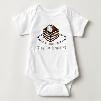 T is for Tiramisu Italian Dessert Espresso Foodie Baby Bodysuit