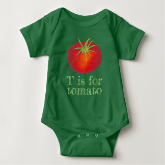 T is for Tomato Red Tomatoes Vegetable Veggie Baby Bodysuit
