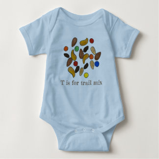 T is for Trail Mix Nuts Seeds Camping Hiking Food Baby Bodysuit