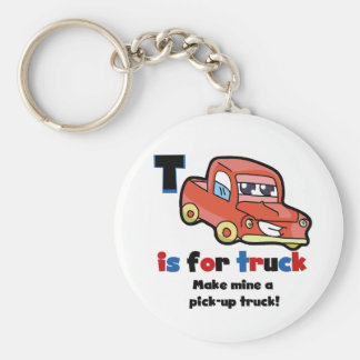 T is for Truck Basic Round Button Key Ring