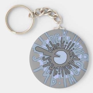 T.K.D. Grey Blue Basic Round Button Key Ring