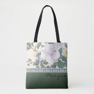 "T Kônan Wood Block Print ""Hibiscus and Browallia"" Tote Bag"