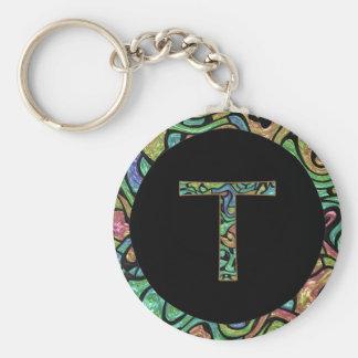 T Monogram Basic Round Button Key Ring
