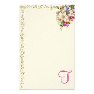 T Monogram Floral Bouquet Stationery Design