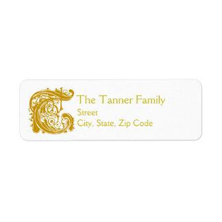 """T Monogram """"Gold Lace"""" design Address Lables Return Address Label"""