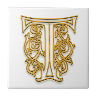 "T Monogram ""Irish Gold"" Ceramic Tile"