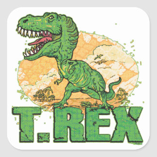 T Rex Big Dot Square Sticker