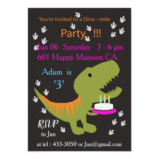 T-rex Birthday Party Invitation