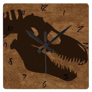 T-rex Bones Browns Square Wall Clock