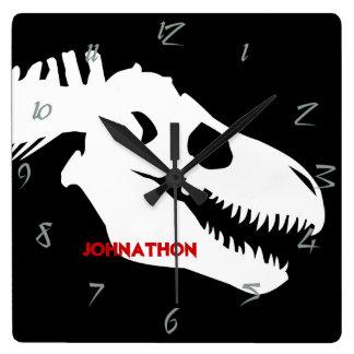 T-rex Bones Personalized Square Wall Clock