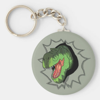 T-Rex busting out of Basic Round Button Key Ring