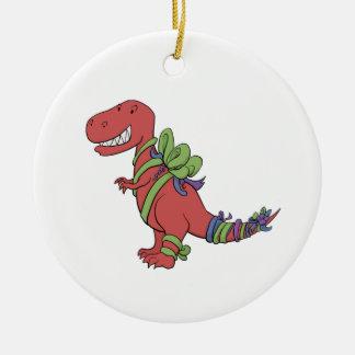 T-Rex Chirstmas-Ribboned Ornament