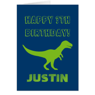 T rex dinosaur Birthday greeting card for kids