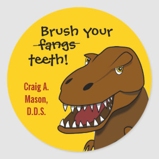 T-rex Dinosaur Brush Your Teeth Dentist Sticker
