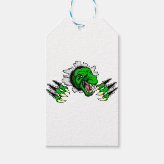 T Rex Dinosaur Clawing Hole in Background Gift Tags