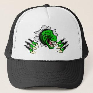 T Rex Dinosaur Clawing Hole in Background Trucker Hat