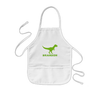 T-rex dinosaur kids apron with custom boys name