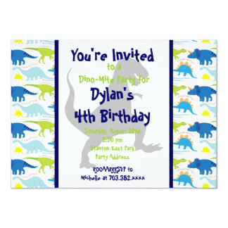 T Rex Dinosaur Kids Birthday Party Invitations
