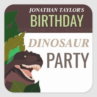 T Rex Dinosaur Party Children's Birthday Square Sticker