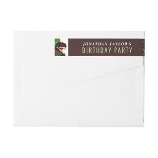 T Rex Dinosaur Party Children's Birthday Wraparound Return Address Label