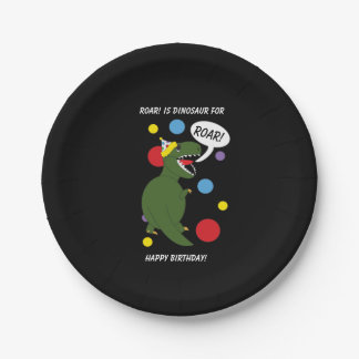 T-Rex Dinosaur Personalize Kids Birthday Party Paper Plate