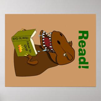 T Rex Dinosaur Reading Funny School Educational Poster