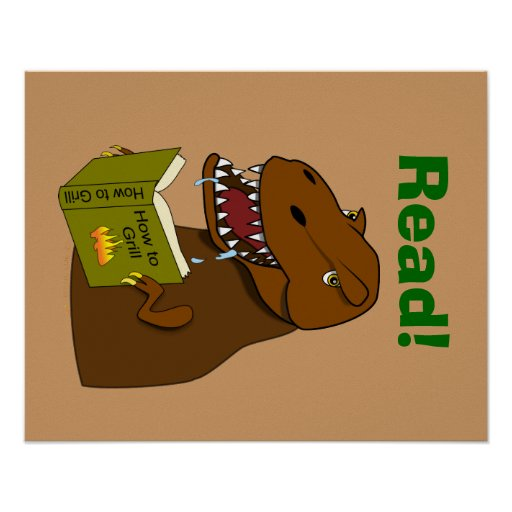 T Rex Dinosaur Reading Funny School Educational Posters