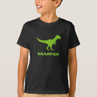 T rex dinosaur t shirt personalized with kids name