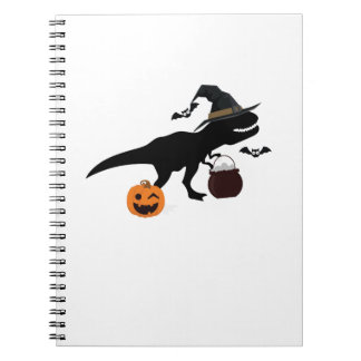 T-Rex Dinosaur Witch Halloween Funny Gift Notebooks