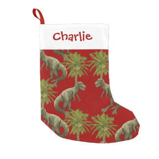 T-Rex Dinosaurs Coconuts Red Christmas Stocking